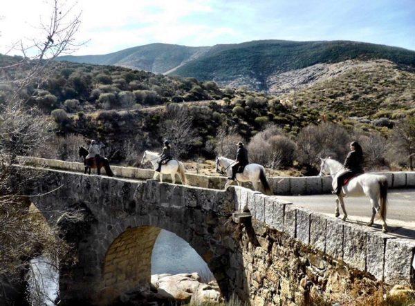 Ruta ecuestre a su paso por el puente del Pozo de las Paredes, en Navacepeda de Tormes. Fotografía: Gredos a caballo.