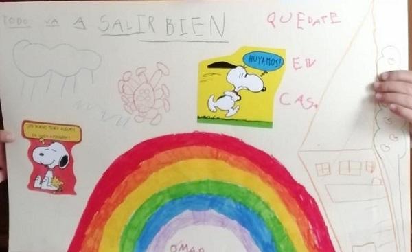 Dibujo arco iris coronavirus