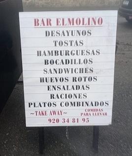 Cartel de comida para llevar de El Molino, en Barajas, Navarredonda de Gredos.