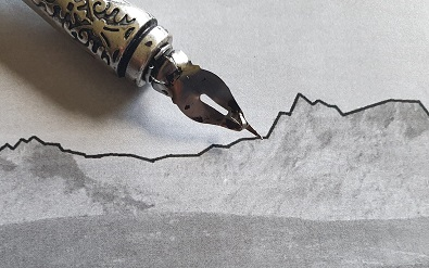 Gredos, inspiración para poetas y escritores. Pluma sobre dibujo de silueta de Gredos.