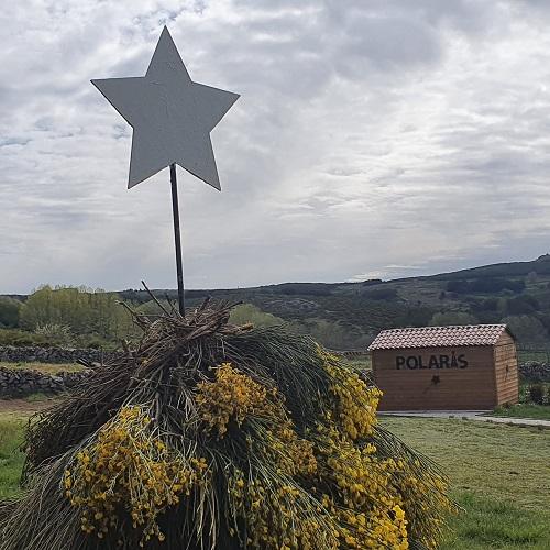 Decoración piornera y estelar junta al observatorio Polaris, en Barajas, Navarredonda de Gredos.